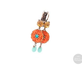 Handmade long earrings orange, blue, topaze, colorful earrings, round pendant earrings, boho earrings