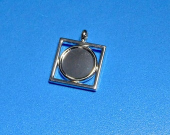 Square Pendant Blank Round Bezel Tray Silver Plated