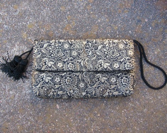 70s Brookstone Studio Soft Golden Black Tassel Clutch, Hand Made // Vintage Pompom Party Purse
