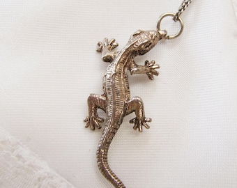 Vintage Solid Sterling Silver Lizard Pendant, Detailed Lizard Pendant, Big Silver Lizard Charm, Unisex Reptile Pendant, Gifts for Him