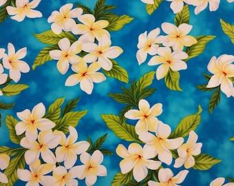 Beautiful Cotton Hawaiian Print with Tropical Plumeria Flowers  (Yardage Available)