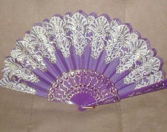 Vintage Purple & Gold Folding Fan