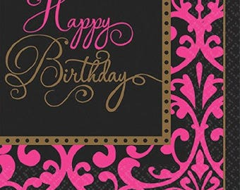 16 Ct Strong 6 1/2 Inch Luncheon - Dinner Size Napkins - Beautiful Black & Pink Damask Design Happy Birthday Banquet Napkins