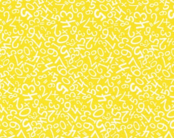 "New NUMBERS Fabric: Fabri-Quilt Back To School White Numbers on Yellow 100% cotton fabric by the yard 36""x43"" (FQ120)"