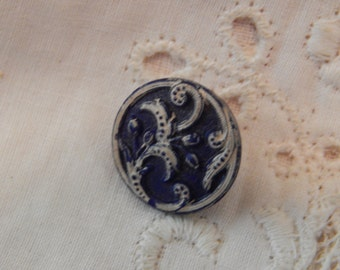 Dark Blue Victorian Glass Button with White Accent on Floral Design