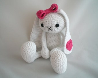 Crochet Bunny / Amigurumi Bunny Rabbit / Crochet Plush Toy / Soft Toy with Bow and Heart  / Easter Bunny Plush Toy / New Baby / Baby Shower