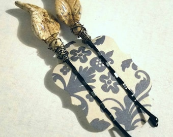 Cute Decorative Hair Pins with Wire Wrapped Picture Jasper Leaves