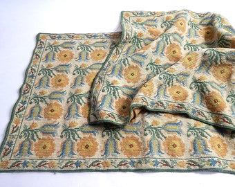 Pair Small Vintage French Needlepoint Rugs