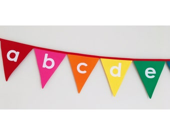 Lower Case Alphabet Rainbow Bunting Banner Flags