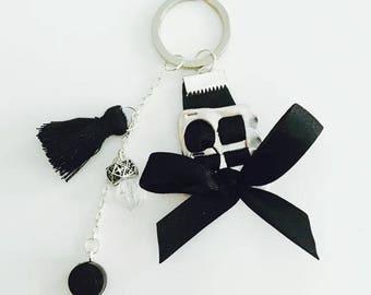 Keychain handbag bobbin capsules and satin ribbon with Pearl and pendant