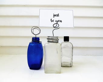 Wire photo stand / Picture stand from repurposed glass bottle / Upcycled junk / Repurposed vintage bottle