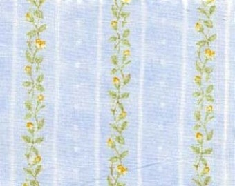 FAT QUARTER Quilt Cotton Fabric ~ Henry Glass Dreaming of Roses Blue Rose Stripe 2507-5