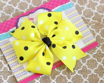 Black Yellow Hair Bow - Simple Hair Bow - Pinwheel Hair Bow - Back to School Bows - Toddler Hair Bows - Girls Hair Bows - 4 Inch Hair Bow