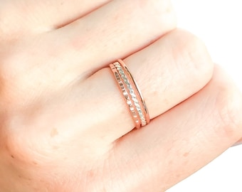 Gold and Silver Thin Stacking Rings- Set of 3, Gold Filled Rings