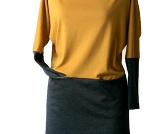 Mustard yellow dress, Long sleeve dress, Loose dress with pockets, Pencil dress, Boat neck jersey casual dress, Custom plus size clothing