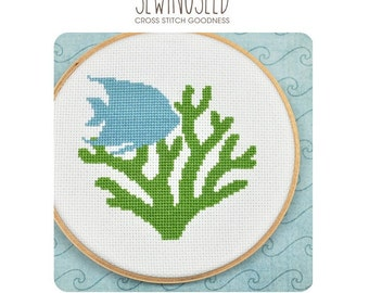 Fish and Coral Under the Sea Cross Stitch Pattern Instant Download
