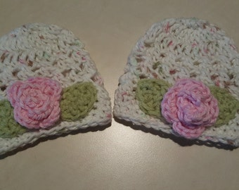 Twin Newborn Baby Girl Jaelynn  Hats Gorgeous Pink with Stunning Rose great for photo op