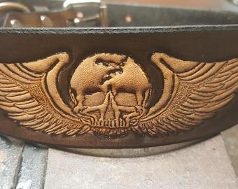 Leather Dog Collar, Big Dog, 2'' wide, Skulls, Wings, Biker, Dog collar