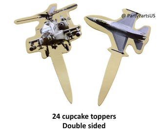 fighter jet and Apache helicopter cupcake toppers, military aircraft, airplanes, helicopters, retirement party decorations, gamer birthday