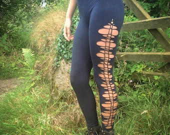 Cosmic Pixie Woven Cotton Leggings with antique brass studs, festival clothing, burning man, goa, psychedelic, boom festival, doof