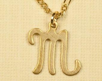 Vintage Letter Inicial Necklace M
