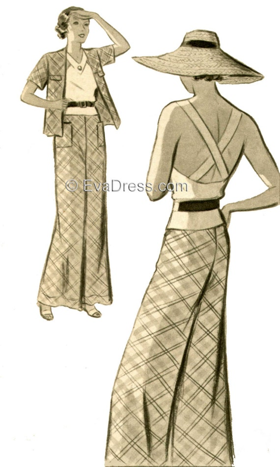 1930s Sewing Patterns- Dresses, Pants, Tops 1935 3-piece Beach Ensemble EvaDress Pattern1935 3-piece Beach Ensemble EvaDress Pattern $28.00 AT vintagedancer.com