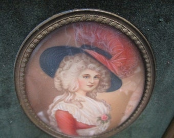 Lady In Red Antique Signed Print by T. Gainsborough in Original Frame
