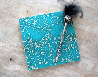 Guest Book, 7x7 Blue Green Batik Mums, unlined handtorn pages, Ready to ship