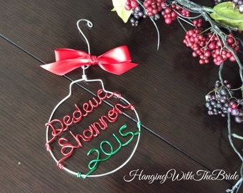Personalized Ornament, Wire Name, Holiday gift,  Christmas Gift, Custom name ornament, New Couple Gift, Newlywed, Engagement gift