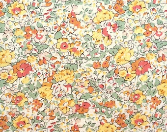 "Claire Aude D Liberty Fabric tana lawn scrap white green yellow orange 10"" x 15"" (25,4 cm x 38 cm) The Weavers Mill"