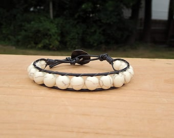 White Bead Bracelet, Leather Wrap for Women, Boho Gift for Her, Summer Stackable Trendy Stone Jewelry , Birthday Present for Best Friend
