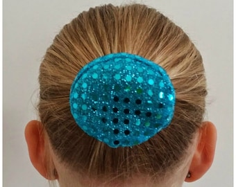 Turquoise Sequin Bundazzle Hair Bun Cover
