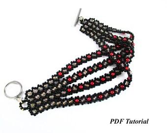"Seed Beads Pattern, Beading Bracelet, Bracelet Tutorial, Beaded Bracelet, Beading Pattern, DIY Bracelet, Beading Jewelry, ""Leya"" Bracelet"