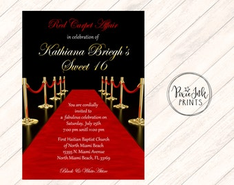 Red Carpet Affair Invitation, Hollywood Sweet 16 Invite, Red Carpet Gala Invitation, Hollywood Printable, Red Carpet Birthday Party