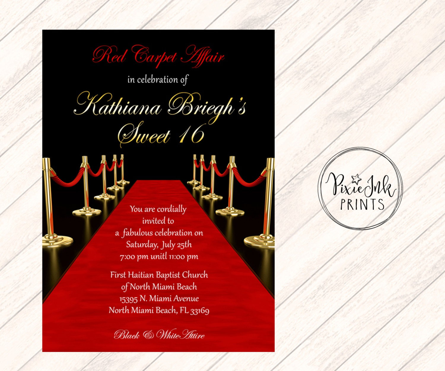 Red Carpet Affair Invitation Hollywood Sweet 16 Invite Red