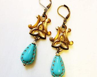 Cavalier Earrings, Vintage Art Deco Brass, Turquoise Czech Glass Horseshoe Beads, Gold Dots, Stylized Flower