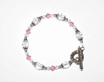 Clear and Rose Swarovski Crystal Bracelet with Sterling Silver findings