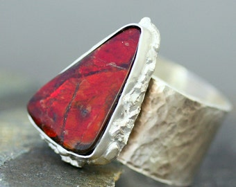 Ruby Red Ammolite Fossil in Hammered Sterling Silver Ring