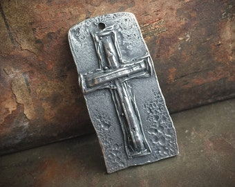 Handcrafted Rustic Cross Pendant Handmade Pewter Jewelry Supply No. PD01