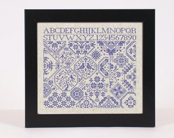 INSTANT DOWNLOAD Quaker ABC 123 Sampler counted cross stitch patterns by Quilify Design at thecottageneedle.com monochromatic