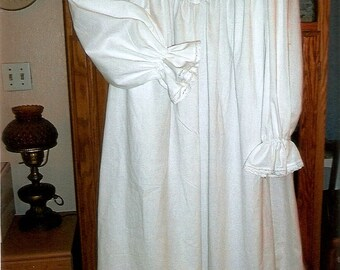 White Cotton Plus Size Victorian Nightgown with pin-tucks and lace