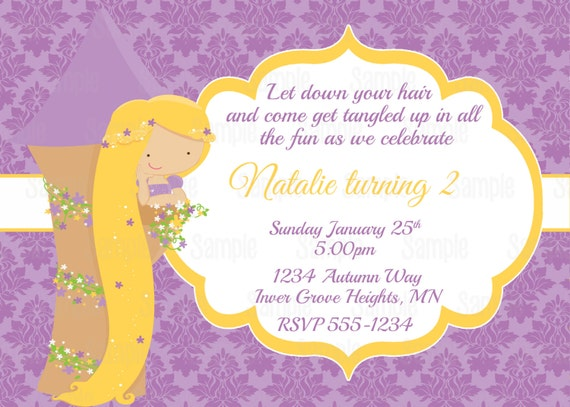 Printable princess rapunzel birthday party invitation plus like this item bookmarktalkfo Image collections