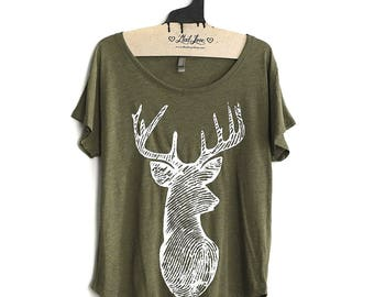 Large -  Tri-Blend Olive Dolman Tee with Deer Screen Print-