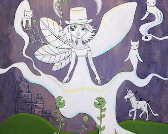 Sale - Large Wall Art - The Weird - Original Acrylic Painting on Wood Panel by Karen Watkins - 3 Feet by 3 Feet - Pop Surrealism Fairy Art