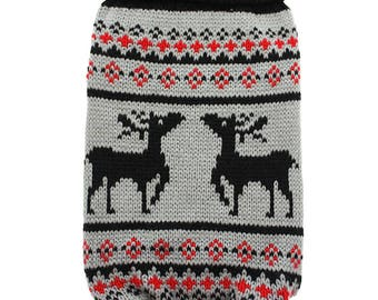 Nordic Reindeer Sweater, By Urban Pup, Grey/Black, Size Small, Medium or Large