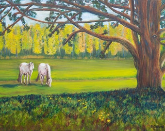 Horse painting, landscape painting, Horse art, country living, Flat Print, Horse Art, animal art, horse print, tree art, Country Painting