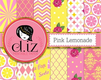 Pink lemonade digital paper, pink and yellow digital paper Vintage soda pop! 12 papers