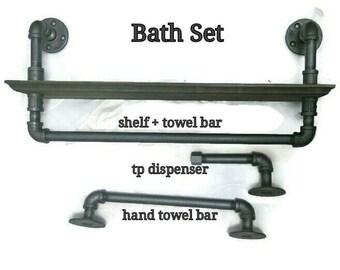 3 Piece Pipe Bath Set, Industrial Bathroom