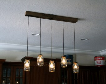 5 Light DIY Mason Jar Chandelier   Kitchen Lighting   Rustic Lighting    Mason Jars