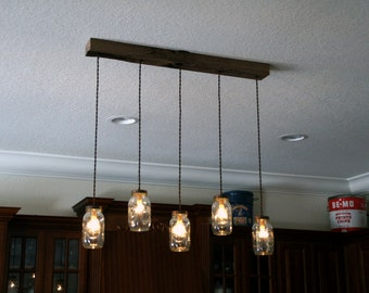 Awesome 5 Light DIY Mason Jar Chandelier   Kitchen Lighting   Rustic Lighting    Mason Jars